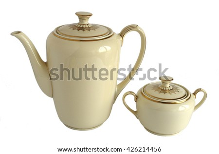 Vintage teapot and sugar bowl isolated on white background