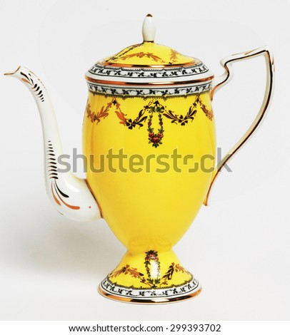 vintage teapot isolated - stock photo