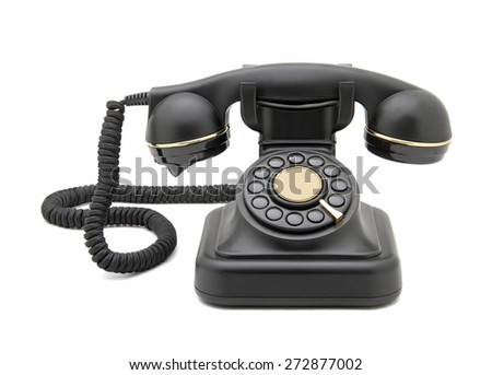 Vintage telephone (as a souvenir) isolated on white.Studio shot, clipping path. - stock photo