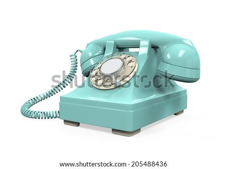 Vintage Telephone Isolated - stock photo