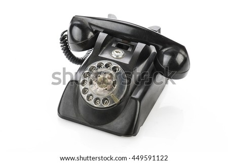 Vintage telephone isolated on a white background