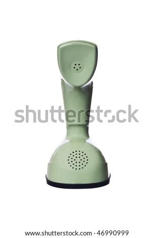 Vintage telephone isolated on white background - stock photo