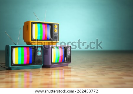 Vintage television concept. Stack of retro tv set on green background. 3d - stock photo