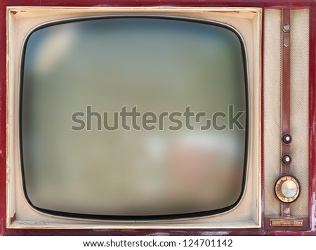 Vintage television isolated - stock photo