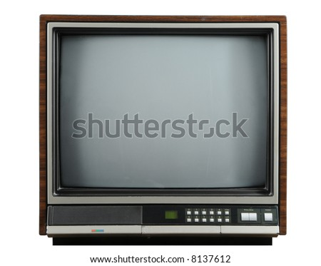 Vintage television isolated on a white background - stock photo