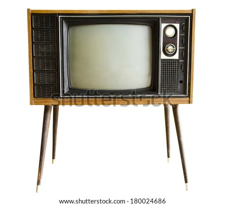 vintage television isolated on the white background - stock photo