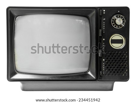 vintage television isolated on the white background, clipping path