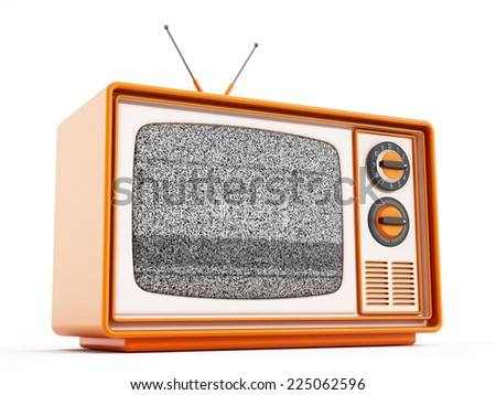 Vintage television isolated on white background. - stock photo