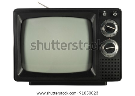 Vintage television isolated over white background - With clipping path - stock photo