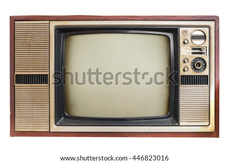 Vintage television. Old TV isolated on white - retro technology. - stock photo