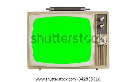 Vintage television on white with green screen.   - stock photo