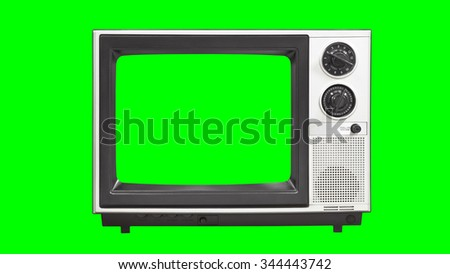 Vintage television with chroma key green screen and background.  - stock photo