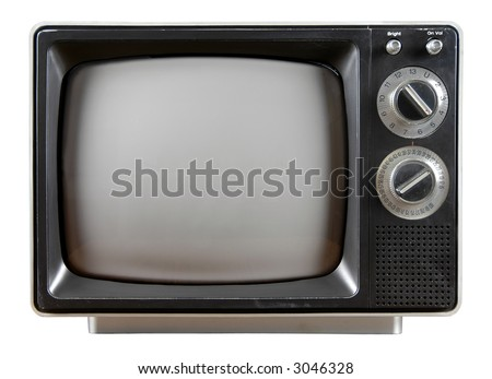 Vintage Television with knobs and buttons isolated over a white background. - stock photo