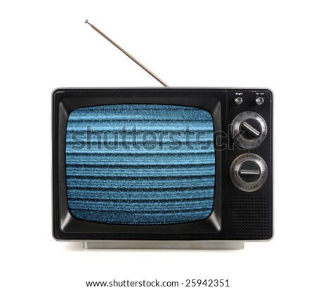 Vintage television with snow bands and patterns isolated over white - stock photo