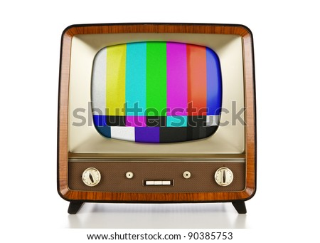 Vintage television with test screen - stock photo