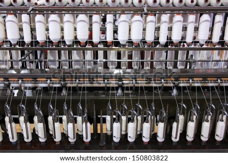 Vintage textile manufacturing machine in England. Fashion industry. - stock photo