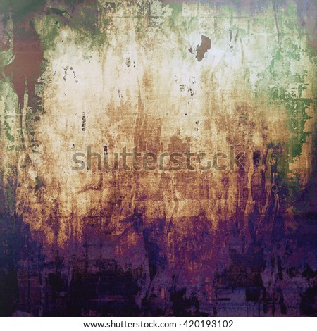 Vintage texture, old style frame decoration with grunge graphic elements and different color patterns: yellow (beige); brown; purple (violet); green; gray; blue - stock photo