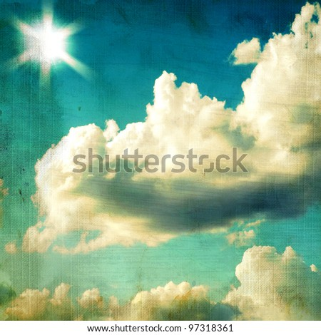 vintage textured background - sky and cloud. Page to design photo books