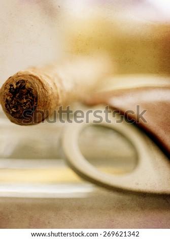 vintage textured macro details of luxury havana cigar  - stock photo