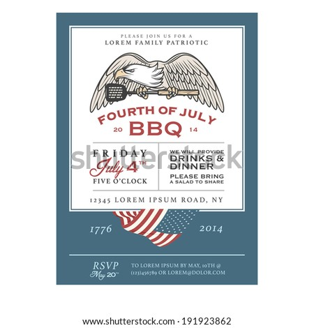 Vintage 4th of july independence day barbecue invitation stock photo