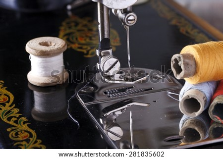 vintage the sewing machine close up - stock photo