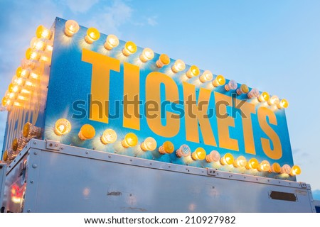 Vintage ticket booth sign at county fair circus  - stock photo