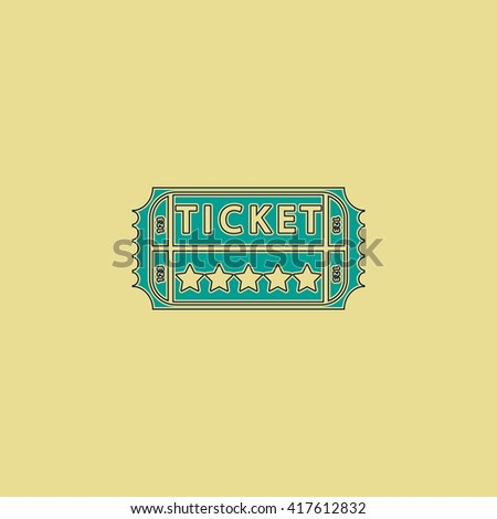Vintage Ticket. Grren simple flat symbol with black stroke over yellow background