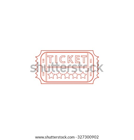 Vintage Ticket. Red outline illustration pictogram on white background. Flat simple icon