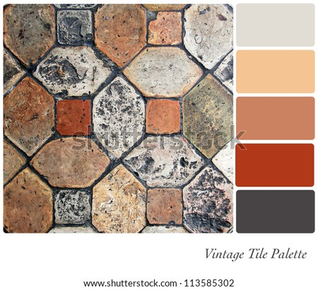 Vintage tile background colour palette with complimentary swatches. - stock photo