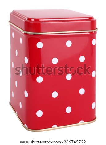 Vintage tin box red with white dots - stock photo