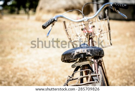 Vintage tone and vintage style of the old bicycle - stock photo