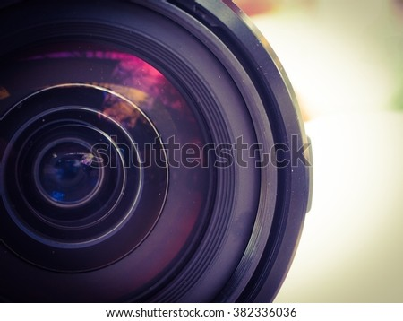 Vintage tone close up len  to camera with soft focus - stock photo