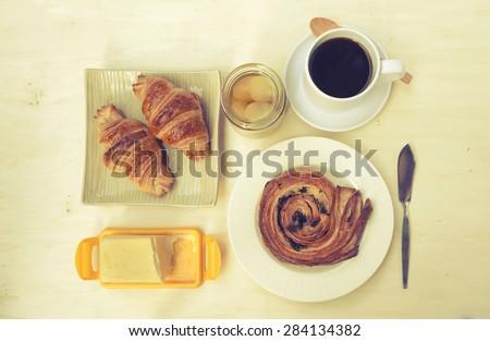 Vintage tone Fresh bakery breakfast background - stock photo
