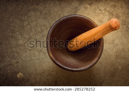 Vintage tone Mortar and pestle. Still life of mortar and pestle, thai cooking tool - stock photo