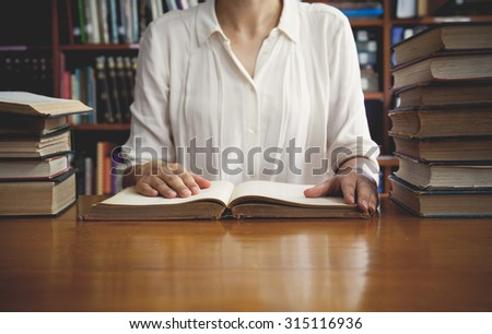vintage tone of Reading a book concept. - stock photo