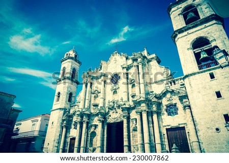 Vintage toned image of the Havana Cathedral - stock photo