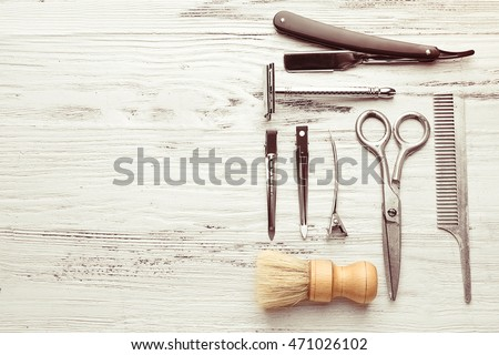 Vintage Tools Barber Shop On Light Stock Photo 471026102