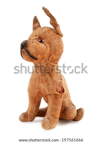vintage toy dog, stuffed with straw, isolated on white background