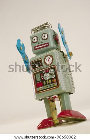 Vintage toy robot - stock photo