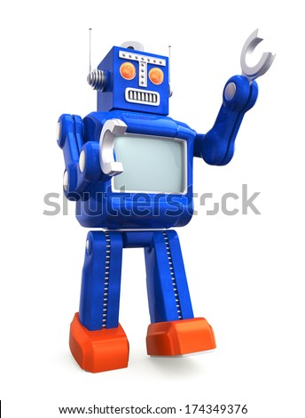 Vintage toy robot on white background - stock photo