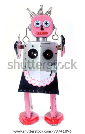 vintage toy robot walking toward you on a white background - stock photo