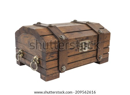 Vintage toy treasure chest with clipping path.