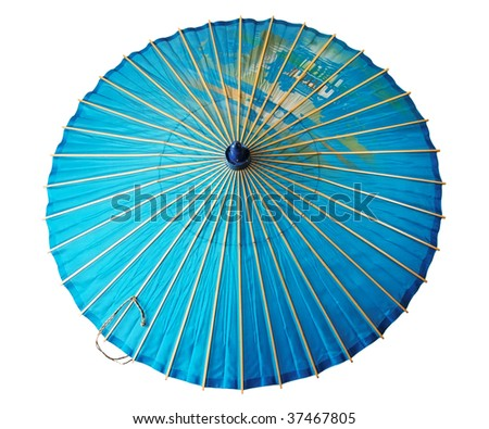 Vintage traditional japanese parasol isolated on white - stock photo