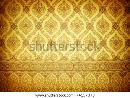 vintage traditional thai line art - stock photo