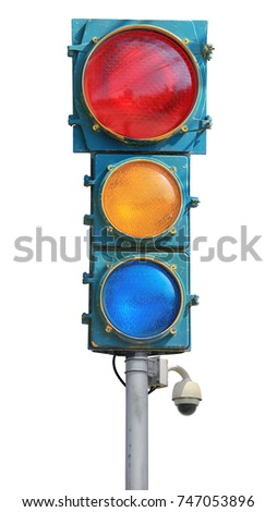 Vintage Traffic light, intersection isolated on white background this has clipping path.