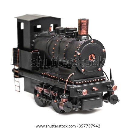 vintage train toy isolated on white background - stock photo