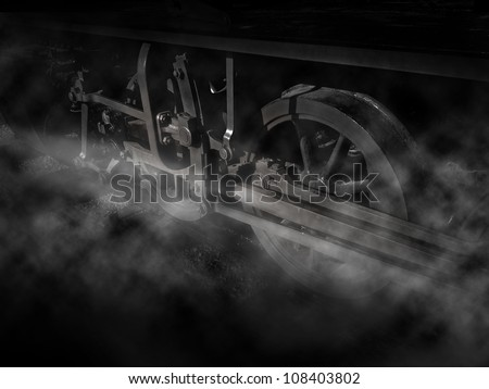 vintage train wheels with steam in Black and white - stock photo
