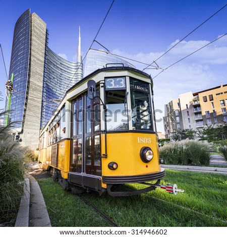 Vintage tram on the Milano street, near Puorta Nuova, Italy - stock photo
