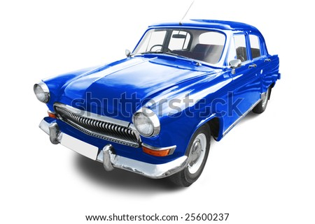 vintage transport. blue retro car isolated on white - stock photo
