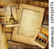 vintage travel background with blank page for text or your photo - stock vector